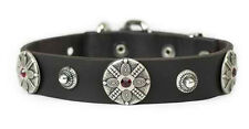 D&T High Quality Dog Collar Black Leather - Shaka