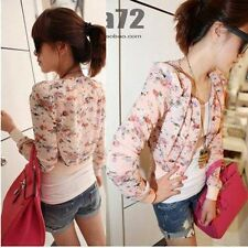 Womens Fashion Chiffon Floral Long Sleeve Bolero Shrug Zipper Jacket Short Coat