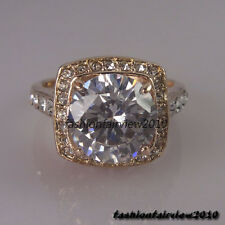 Noble Rose Gold GP Clear White Crystals Cocktail Engagement Wedding Ring IR001B