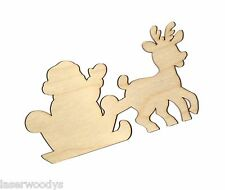 Santa & Rudolph Unfinished Flat Wood Shape Cut Outs SR705 Variety Sizes Crafts