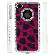 Apple iPhone 4 4S Gem Crystal Rhinestone Dark Pink Leopard Glitter Plastic case
