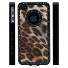 Apple iPhone 4 4S Gem Crystal Rhinestone Brown Shimmer Leopard Plastic case