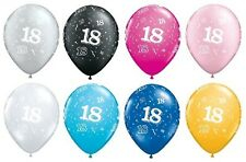 """Pack of 5 Qualatex 11"""" - 18th Birthday Party Balloons - Age 18 (Helium Quality)"""