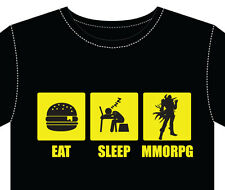 T Shirt, men eat sleep MMORPG computer online games avatar gaming roleplayer