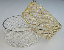 NEW-HANDCRAFTED INDIA GOLD,SILVER TONE+SWAROVSKI CRYSTAL BANGLE,BRACELET