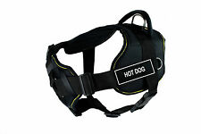 DT FUN with Chest Support Dog Harness in Yellow Trim - HOT DOG