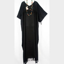 Plain Black Maxi Dress on New Simple Plain Black Kaftan Caftan Hippy Tassel Dress Plus Size