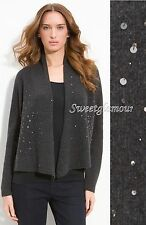 $298 Eileen Fisher Charcoal Merino Cashmere Shaped Angled Hem Sequined Cardigan