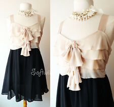 NEW Nude Beige/Black ROMANTIC Ruffled Top Relaxed Babydoll CUTE Contrast Dress
