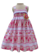 New Beautiful girls pink daisy spring/summer dress with smocking 17658