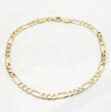 4.5mm Mens Solid Figaro Link Chain Bracelet Real 14K Yellow Gold 5.9gr