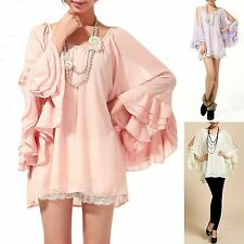 Trendy Chiffon Cut Off Shoulder Tiered Bat Sleeves Lined Blouse Top