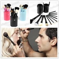 A Set Of 12 Pcs Professional Makeup Tools Brush  Kit Leather Cup Holder Case