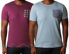 Mens plain t-shirt with check patch pocket short sleeve tee/top Threadbare 075
