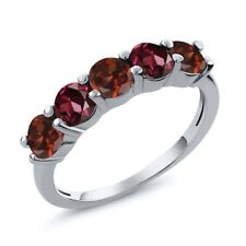 1.04 Ct Round Red Garnet Rhodolite Garnet 925 Sterling Silver Wedding Band Ring