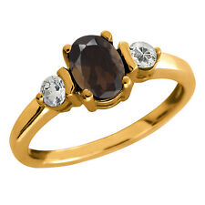 1.03 Ct Oval Brown Smoky Quartz and Topaz Gold Plated 925 Silver Ring