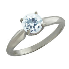 0.75 Ct Round Sky Blue Aquamarine Sterling Silver Ring