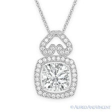 Cushion Cut  Micro-Pave CZ Crystal Pendant & Chain Necklace 925 Sterling Silver