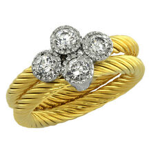2.00 Ct Stunning Two-Tone Double Rope Round White Cubic Zirconia CZ Band Ring