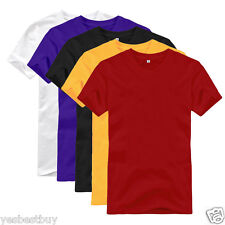New Men's T-Shirt Solid Color Man Crew Neck Basic Plain TEE Short Sleeve M L XL