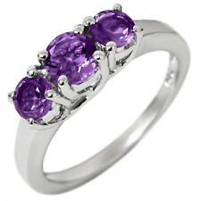 1.30 Ct 3-Stone Purple Amethyst Ring in 925 Sterling Silver