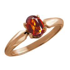 0.70 Ct Oval Orange Madeira Citrine Rose Gold Plated 925 Silver Ring