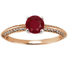 0.90 Ct Round Red Ruby Diamond 925 Rose Gold Plated Silver Ring