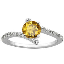 1.11 Ct Round Champagne Quartz Diamond 925 Sterling Silver Ring