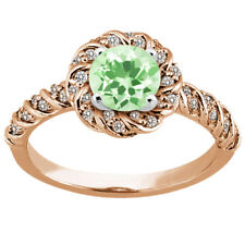 1.68 Ct Round Green Amethyst 925 Rose Gold Plated Silver Ring