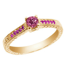 0.32 Ct Round Pink Tourmaline Sapphire 925 Yellow Gold Plated Silver Ring
