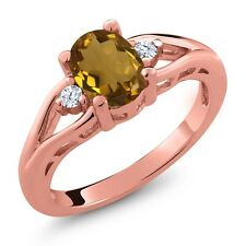 1.23 Ct Oval Whiskey Quartz and Topaz Gold Plated 925 Silver Ring