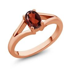 0.90 Ct Oval Red Garnet Rose Gold Plated Silver Ring