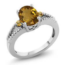 1.26 Ct Oval & Round 3-Stone Whiskey Quartz and Citrine 925 Silver Ring
