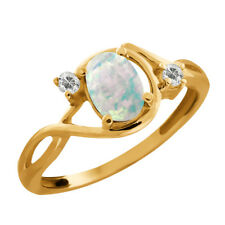 0.68 Ct Oval/cabouchon White Opal and Topaz Gold Plated 925 Silver Ring