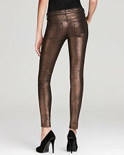 7 FOR ALL MANKIND Womens Liquid Metallic Skinny Jeans - Copper Brown $198