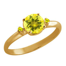 1.02 Ct Round Canary Mystic Topaz Canary Diamond Gold Plated 925 Silver Ring