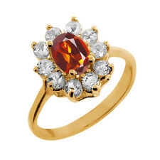 1.10 Ct Oval Orange Madeira Citrine Topaz Gold Plated 925 Silver Ring