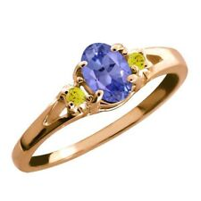 0.49 Ct Blue Oval Tanzanite and Canary Diamond Rose Gold Plated Silver Ring