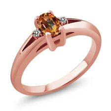 0.59 Ct Ecstasy Oval Mystic Topaz and Diamond Rose Gold Plated Silver Ring