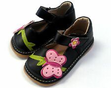 Girl's Squeaky Shoes Black Butterfly  size 4 5 6 7 8 9  Leather Mary Jane #1036