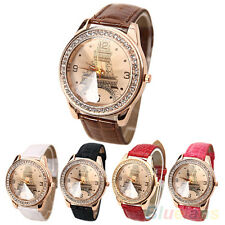 Fashion Women Faux Leather Crystal Rhinestone Eiffel Tower Quartz Wrist Watch