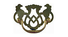 Stamped Brass Chippendale Style Drawer Pull with Pierced Back Plate. 3 Sizes.