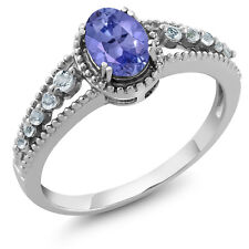 1.00 Ct Natural Oval 7x5mm Tanzanite and White Topaz Sterling Silver Ring