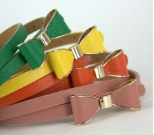 new LADY PU faux leather BOW long lank cute belt 19 colors