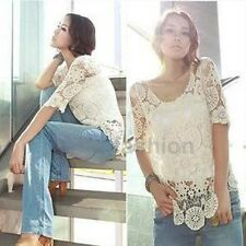 Hot Ladies Lace Crochet Sheer Sleeve Embroidery Floarl Flower Top T-shirt Blouse