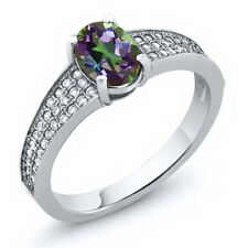 2.08 Ct Oval Natural Green Mystic Topaz 925 Sterling Silver Ring