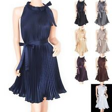 Retro Elegant Satin Pleated Belt Maternity Party Evening Dress
