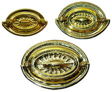 Heppelwhite Style Polished Brass Oval Drawer Pull with Bail, 3 sizes