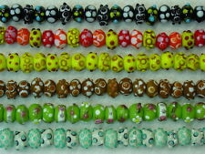 20 Assorted Lampwork Glass Rondelle Green Yellow Blue Black Red Brown Beads