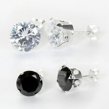 Sterling Silver Clear & Black Round Crystal Cubic Zirconia CZ Stud Earrings